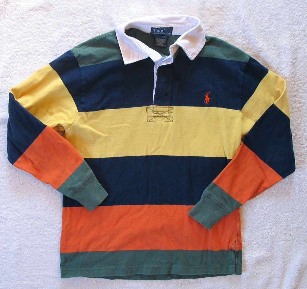 Boys Polo Ralph Lauren Striped Long Sleeve Rugby Shirt Top Size S
