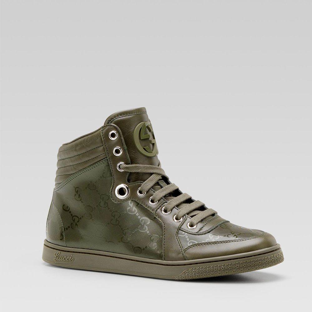 48f3ca17508 Gucci Mens Sneakers Hi-Top Classic Army Green GG Logo (GGM1550 ...