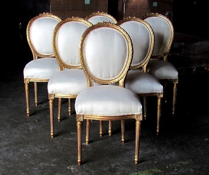 Six Stunning Gilded French Louis XVI Style Dining Chairs Rosette Crest