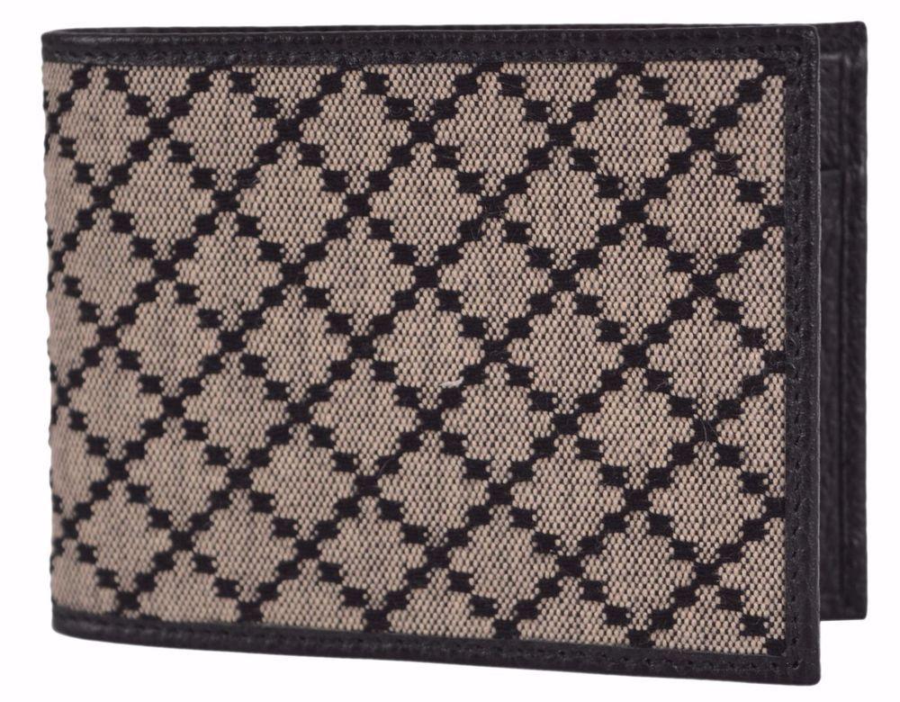 cf0107afd395 New Gucci Men's 143384 Black & Beige Jacquard Diamante Bifold Coin Wallet # Gucci #Bifold