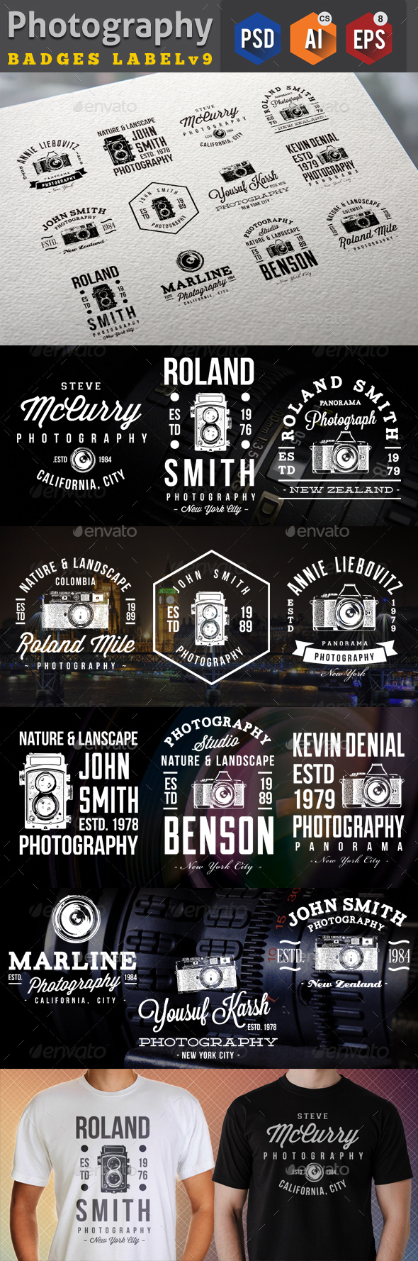 Photography Badges Labels Template Psd Eps Ai Design Download
