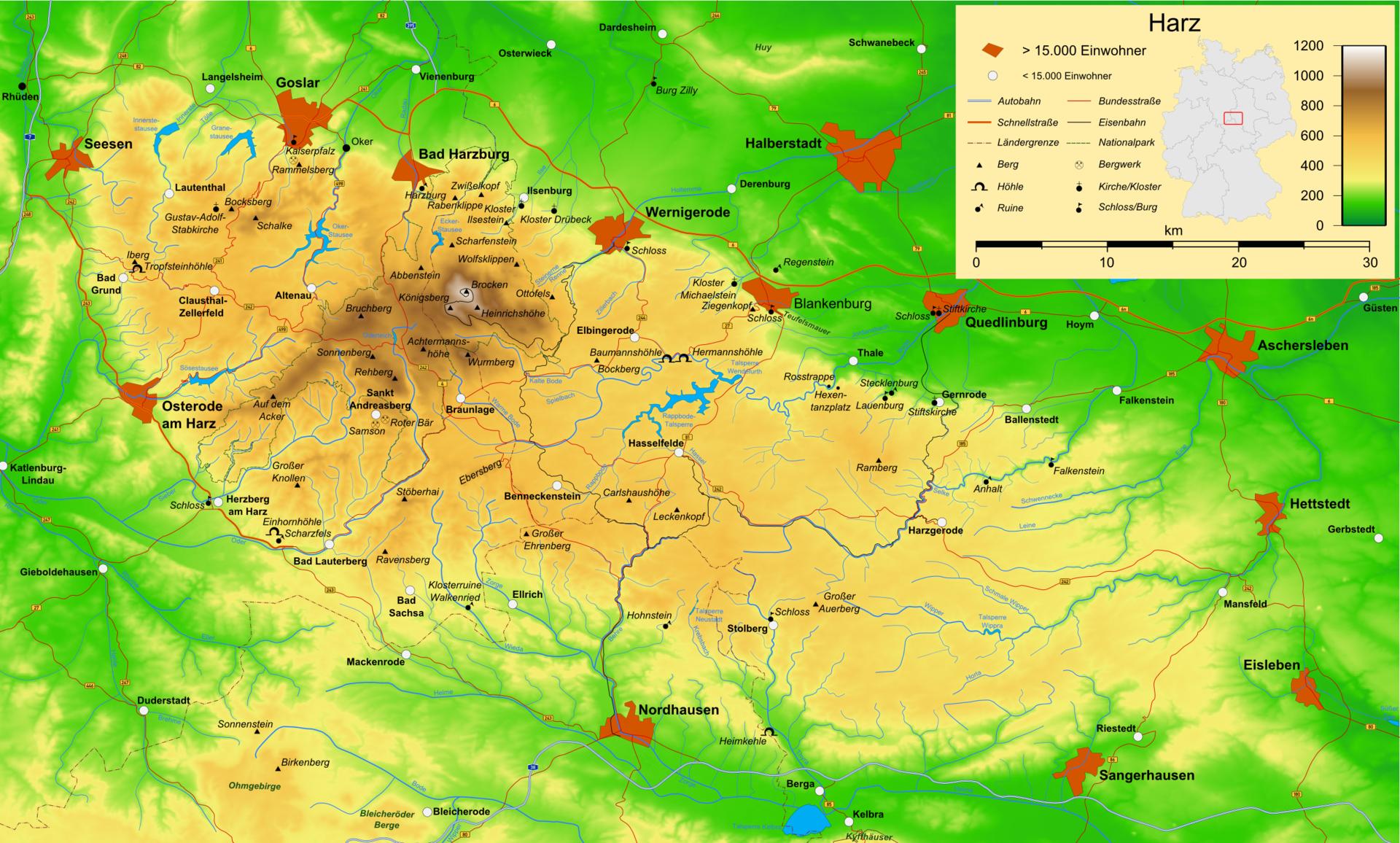 Harz Gebergte Gebergte Cartografie Duitsland