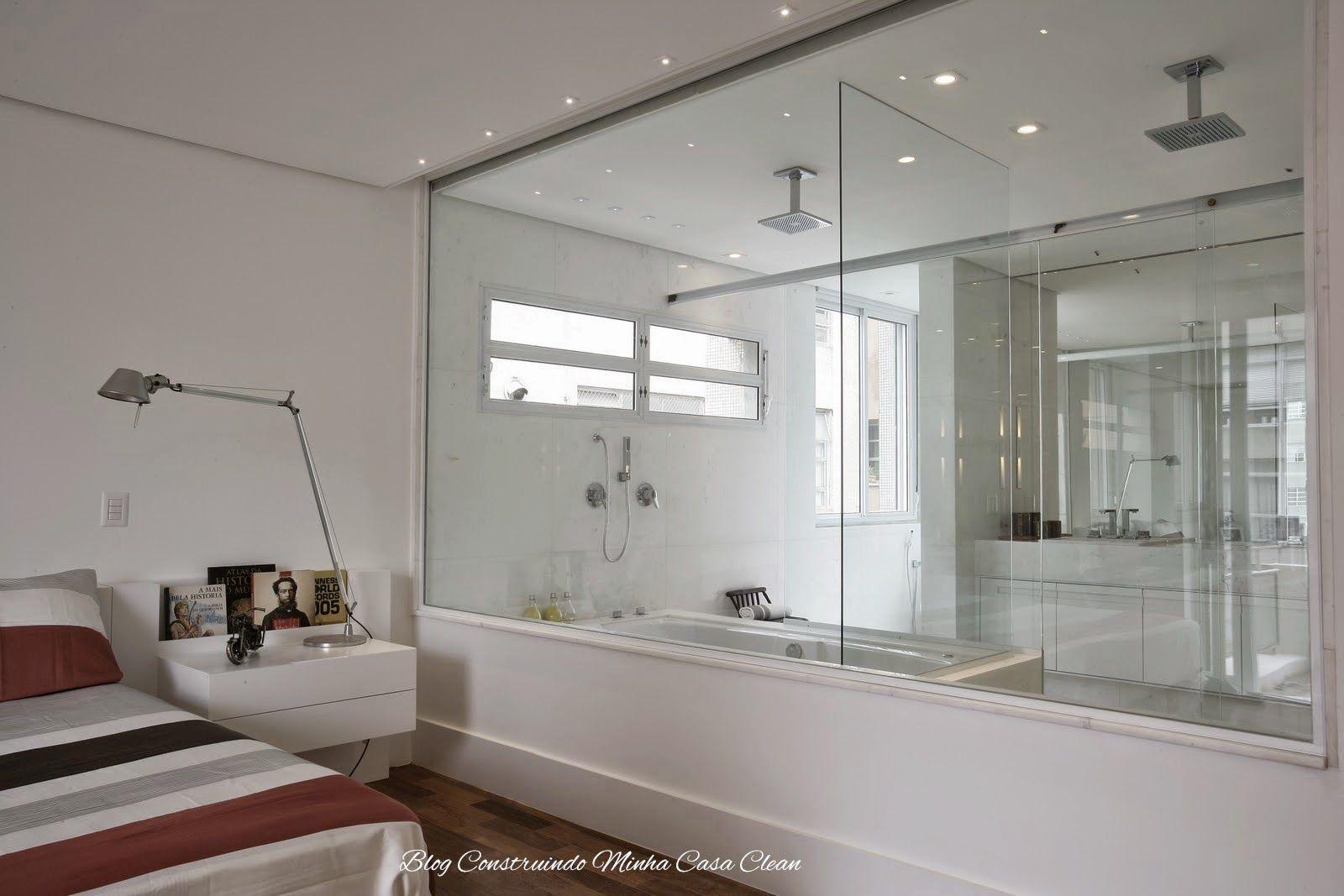 Quartos Integrados Com Banheiros De Vidros Casa Clean Chuveiro  ~ Quarto Integrado Com Banheiro E Modelo De Quarto De Casal