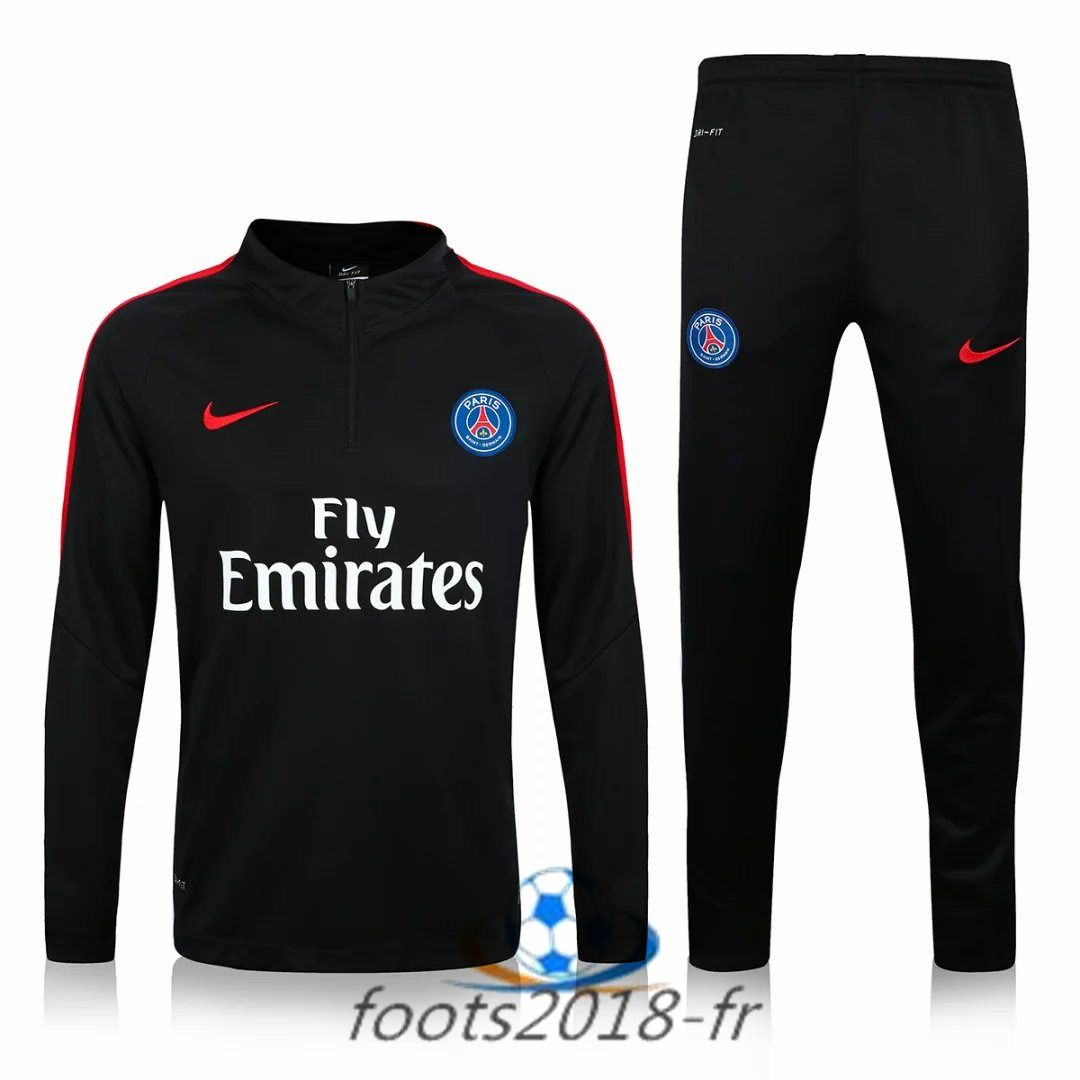 Nouveau Survetement de foot Paris PSG Noir 2016 2017