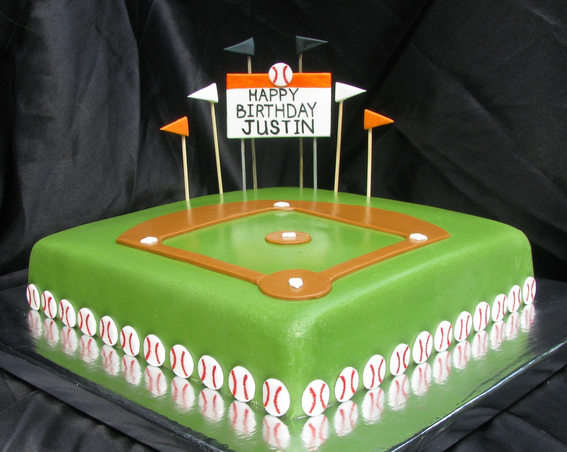 Awesome Fondant Baseball Field Diamond Birthday Cake Black And Orange Funny Birthday Cards Online Overcheapnameinfo