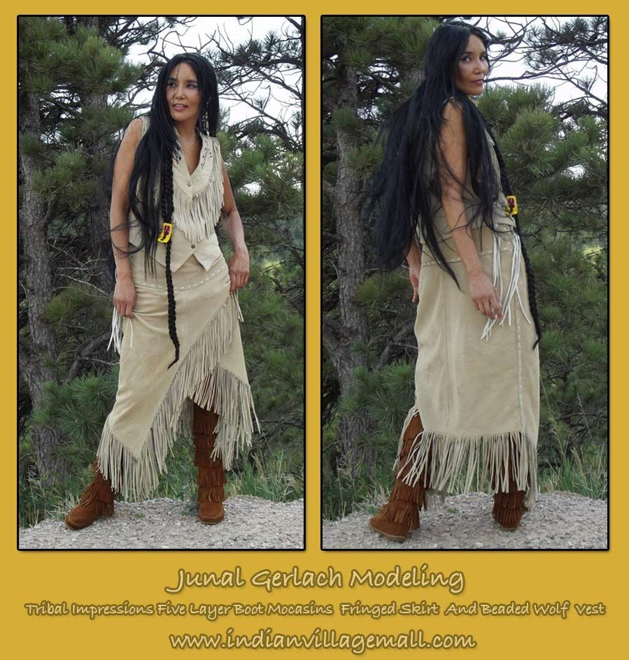 Top Native Model And Actress Junal Gerlach Wearing Tribal Impressions Five Layer Minneonka Zipper Boots,   The J4 West Beaded Wolf Vest With Matching Fringed Skirt. Review the collections off of: http://www.indianvillagemall.com/vestladywolf.html    For more information on Native Actress and Model Junal Gerlach, go to: http://www.junalgerlach.com/