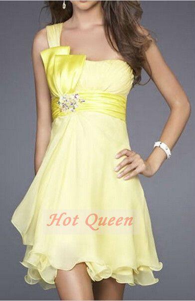 Hot Queen Short Party Dress 2014 One shoulder Chiffon ...