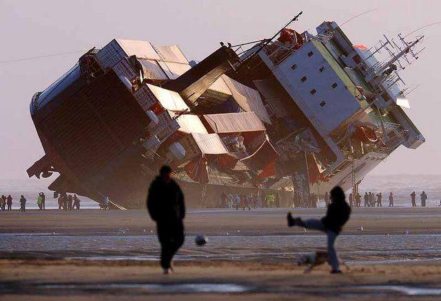 Container ship in peril