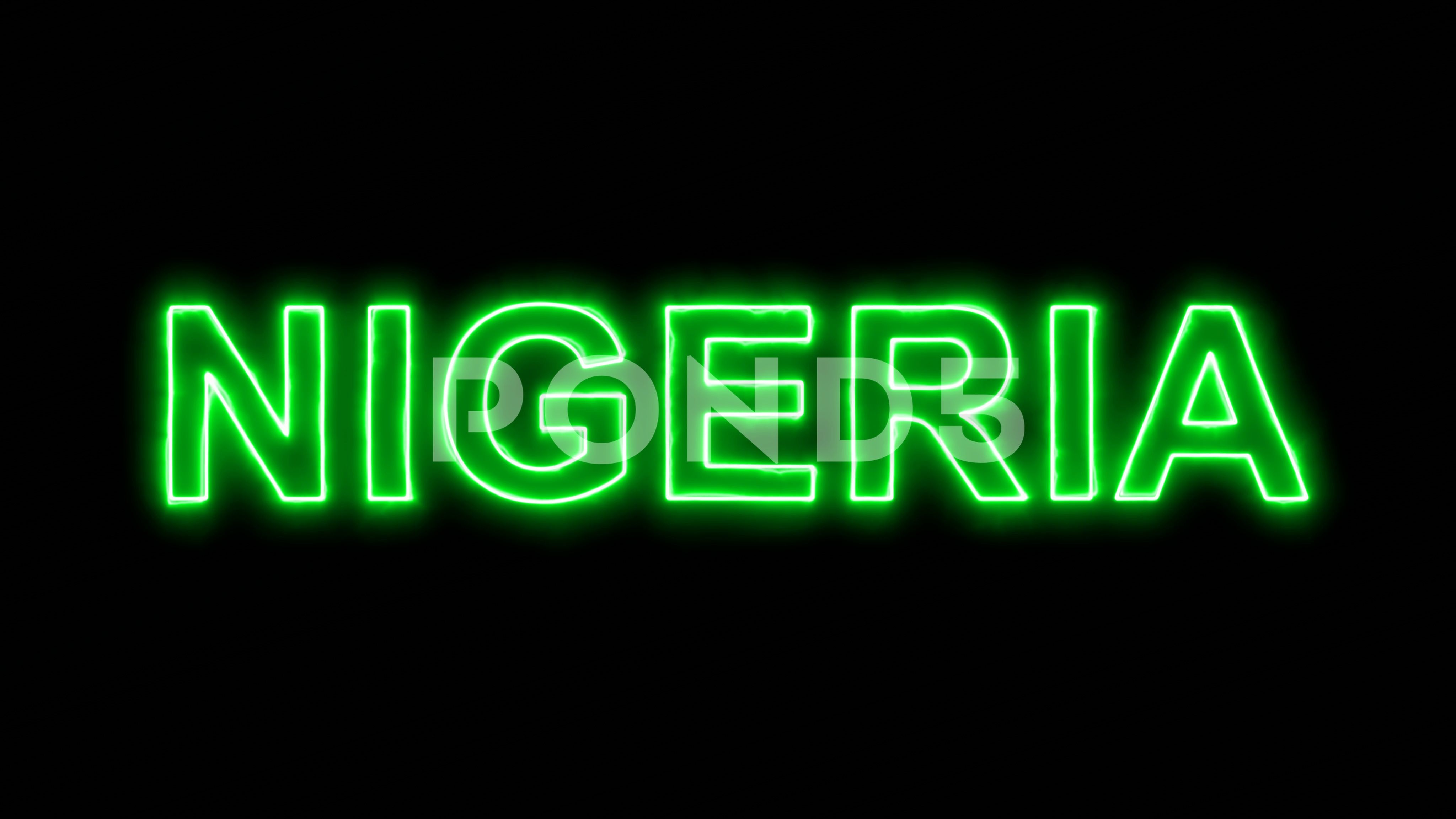 Neon flickering green country name NIGERIA in the haze. Alpha ...