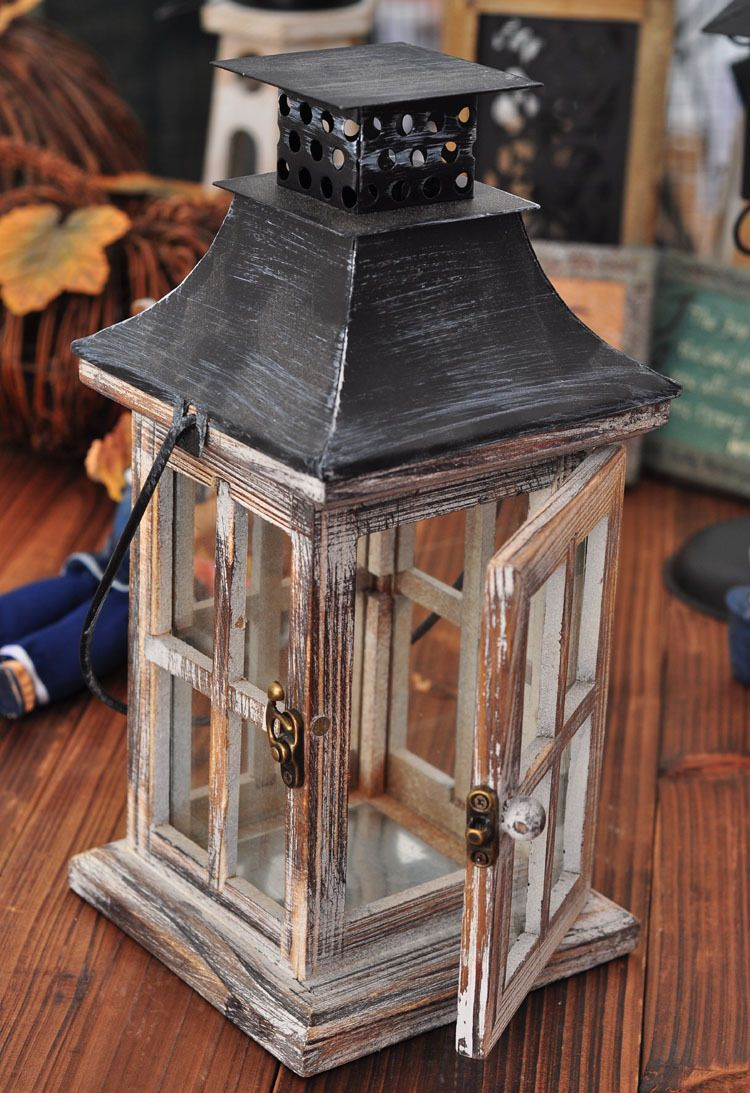 Antique Wooden Lanterns Fashion Vintage Tieyi Mousse Wedding Decoration Windproof Lamp Lantern