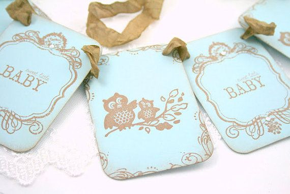 Owl Baby Shower Boy Banner Garland Photo by SeasonalDelightsBaby, $16.25