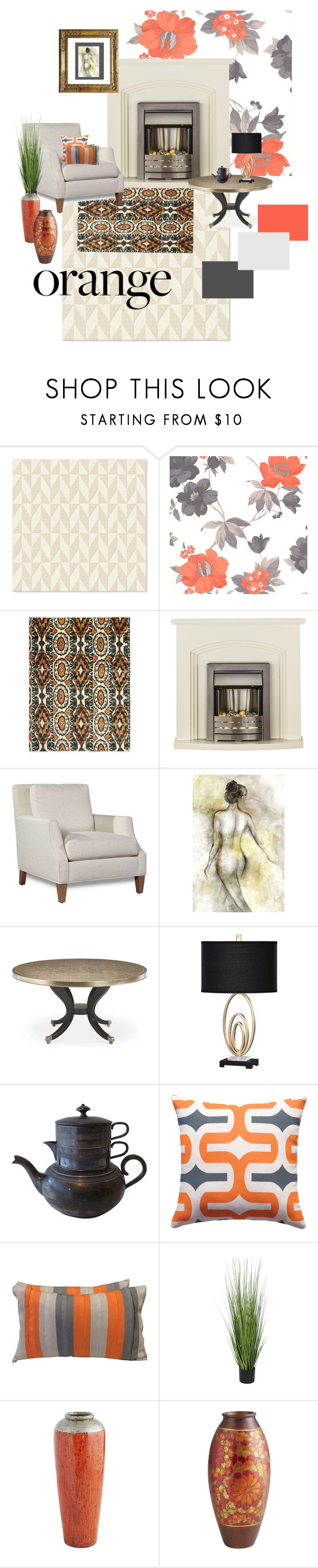 """""""Orange Accents in Traditional Decor"""" by pheinart ❤ liked on Polyvore featuring interior, interiors, interior design, home, home decor, interior decorating, West Elm, Graham & Brown, Safavieh and Leftbank Art"""