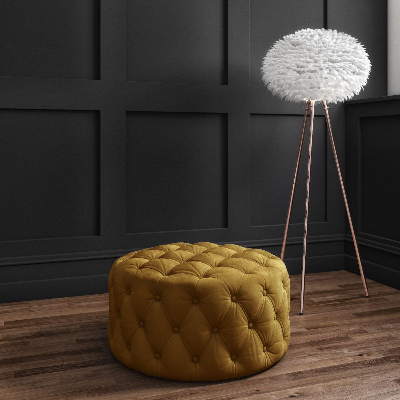 Xena Large Quilted Button Pouffe In Dark Mustard Velvet Xen011