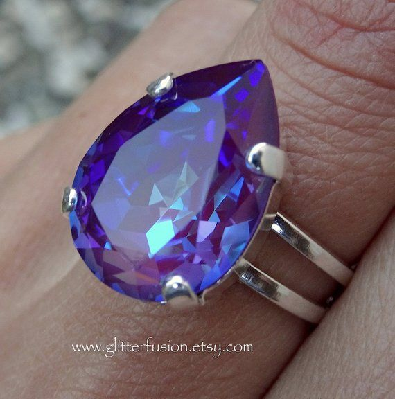 c63815e90 Burgundy DeLite Swarovski Crystal Pear Shaped Statement Ring, Iridescent  Purple Crystal High Fashion New Crystal Color Ring, Glitter Fusion
