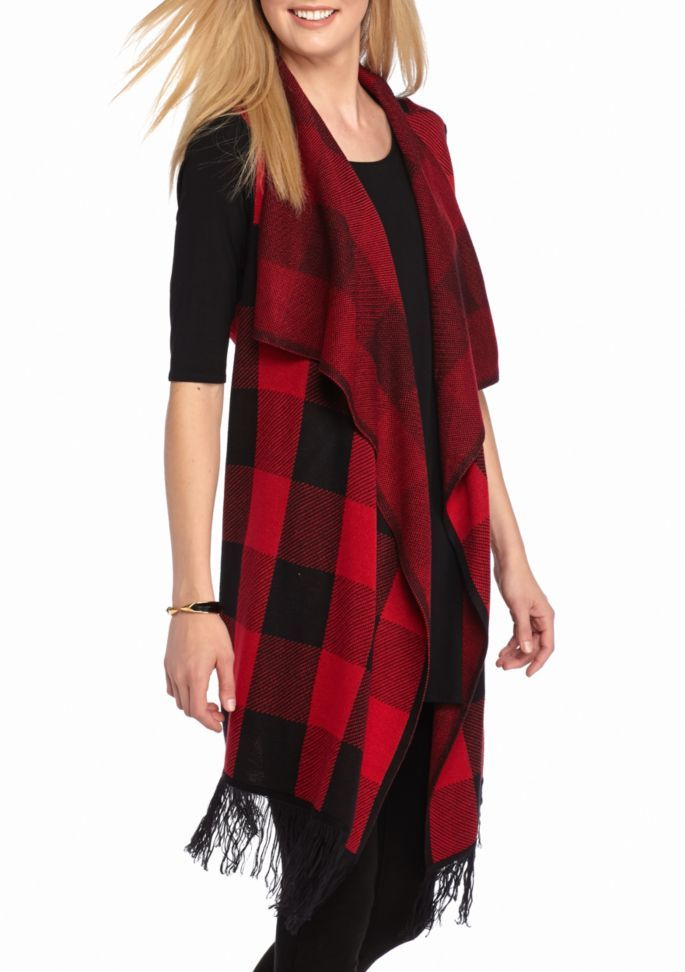 bf018a6aacea New Directions® Weekend Buffalo Plaid Fringe Vest | Mad For Plaid ...