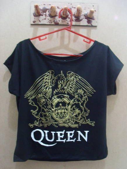 Blusa Gola Canoa Queen Cor: Preta Tamanho único R$ 45,00  www.elo7.com.br/dixiearte