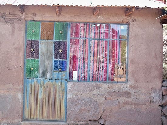 Stained Glass Panes on Home's Entry Door, Puno, Peru