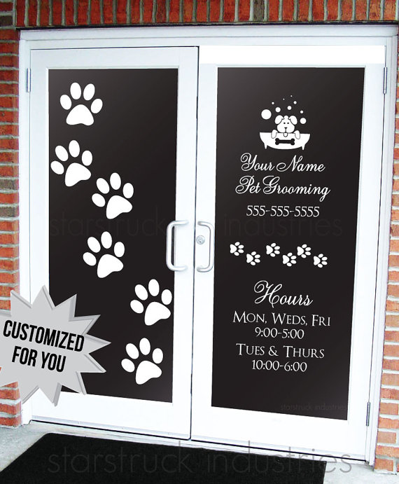 Pet Grooming Salon Dog Daycare Veterinarian Business Hours Decal