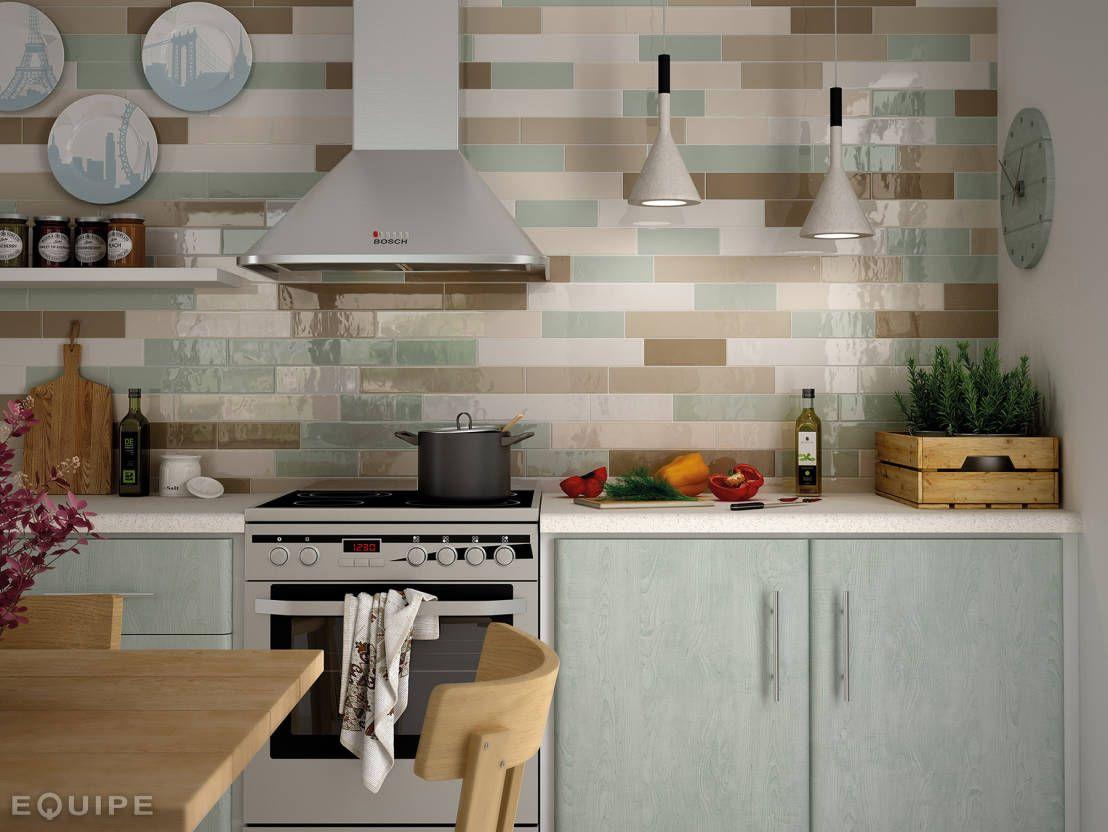 Country Tobacco, Visón, Beige, Ivory, Mist Green : Cozinhas rústicas por Equipe Ceramicas