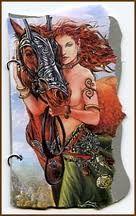 EPONA  A deusa da terra quase sempre aparece junto a um cavalo. O vigor e a força do animal simbolizam o poder e a fertilidade da terra. Arqueólogos acreditam que figuras de cavalos brancos entalhadas em cavernas européias eram dedicadas a Epona