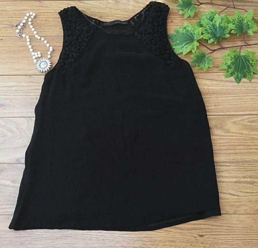 9d1aafa2 28.00 | Zara Basic Black Tank Top Embroidered Sleeveless Shirt Womens Size  M ❤ #zara #basic #black #tank #embroidered #sleeveless #shirt #womens #size  ...