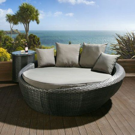 Luxury Round Garden Day Bed Sofa Black Rattan Grey Cushions Cover Amazon Co Uk Garden Outdoors Garden Day Bed Patio Landscape Design Daybed Sofa