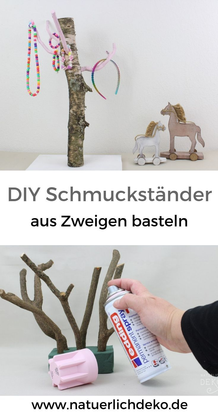 DIY Schmuckständer aus Ästen basteln - Natürlich Deko