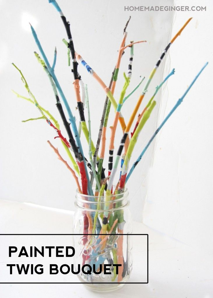 Painted twig bouquet - great craft for kids! #twigcrafts