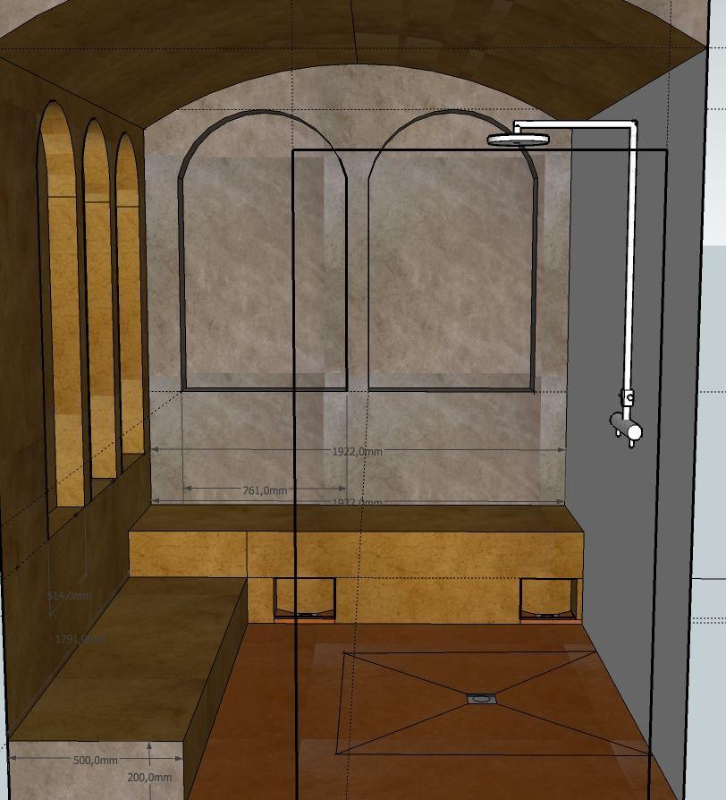 modélisation pour construire un hammam tradtionnel en tadelakt du