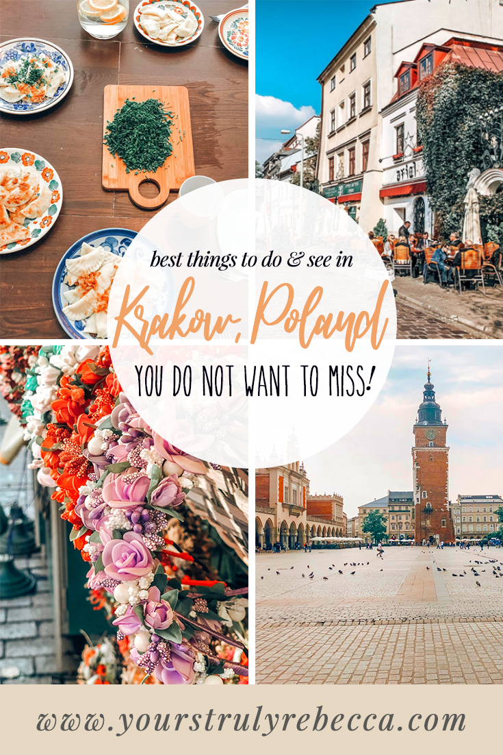 Things to do in Krakow, Poland: Krakow is filled with history, beautiful sights, things to do and delicious and cheap food! Krakow is also super safe for first time solo female travellers. Check out this blog post for more details! #krakow #poland #solofemaletraveller #firsttimesolofemaletraveller #food #oldtown #winter #saltmines #auschwitz #pierogi