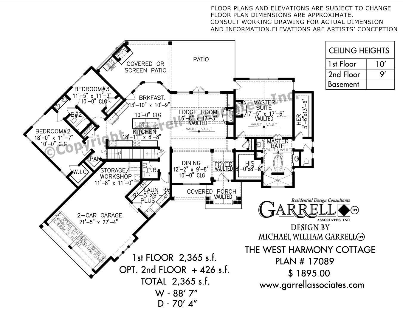 West Harmony Cottage 17089 Garrell Associates Inc Cottage House Plans Floor Plans Craftsman Style House Plans
