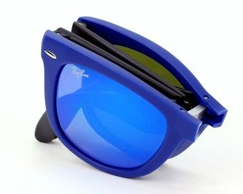 Ray Ban Mens sunglasses. Reference Folding Wayfarer RB4105 6020 17 - 50,  frame in Acetate colour Matt Blue - Matt Grey with Brown with Blue mirror  effect ... 663fe16628dd