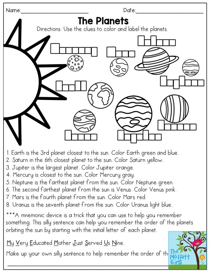 The Planets Read And Color Then Come Up With A Mnemonic Device To