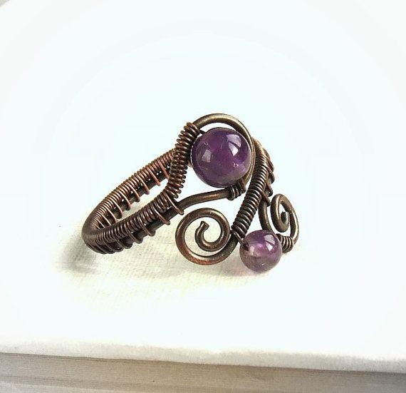 Photo of Amethyst copper ring,  purple healing stone jewelry, birthstone jewellery, elegant women gift