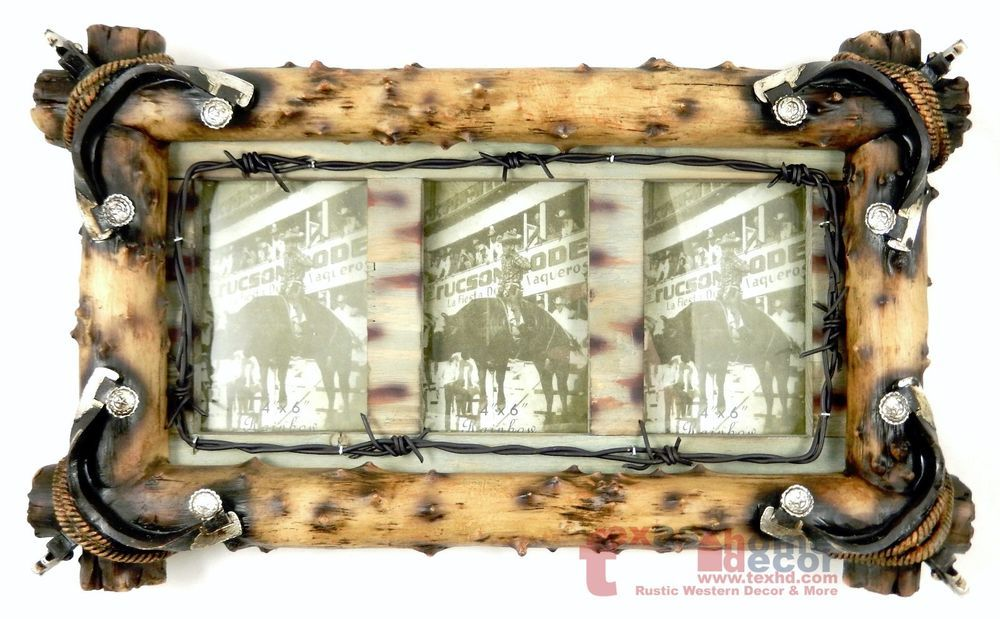 Large Western Rustic Collage Picture Frame Wall Mounted Spurs Rope Barbed Wire Western Western Picture Frames Picture Frames Picture Frame Wall