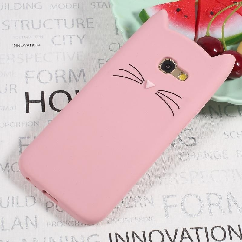 Dulcii Phone Case For Samsung Galaxy A5 A3 2017 Cute 3d Mustache Cat Silicone Coque Cover For Galaxy A5 A3 2016 Animal Phone Cases Cats Phone Case Phone Cases