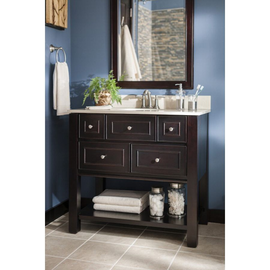 Make Photo Gallery Shop allen roth Hagen Espresso Undermount Single Sink Birch Poplar Bathroom Vanity with Engineered