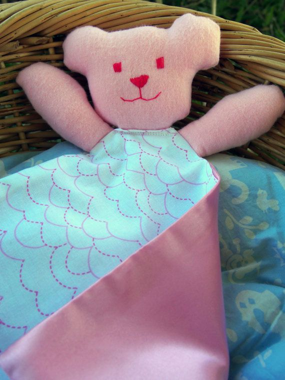Pink Teddy Taggie Comforter for Babies and Children  by Debsla, $14.95
