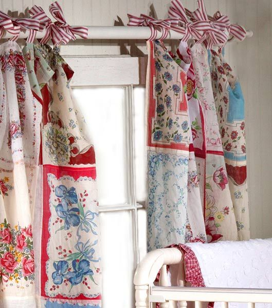 Old handkerchiefs into curtains. This would be adorable using scraps to match a bed quilt.