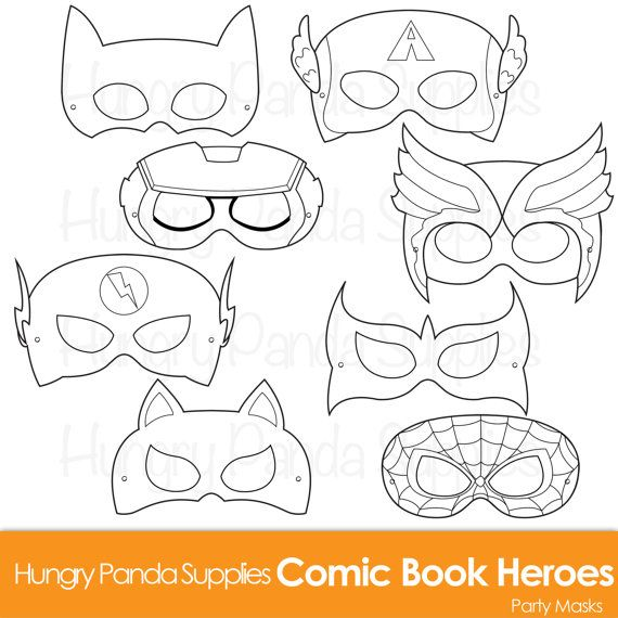 Comic Hero Masks, Comic Book Heroes, Comic Masks, Superhero Party