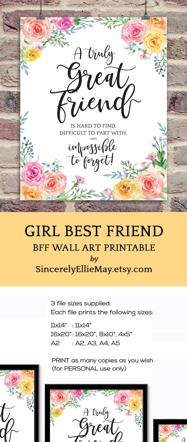 Goodbye Friend Gift, Friendship Wall Art - A Truly Great Friend Is ...