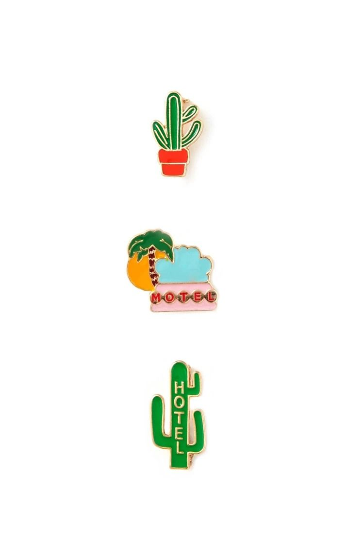 Cactus Enamel Pin Set #accessorize | forever 21