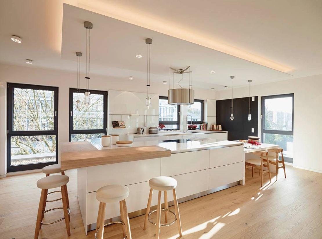cuisine - bois - blanc - ilôt / kitchen - island - wood - white ...