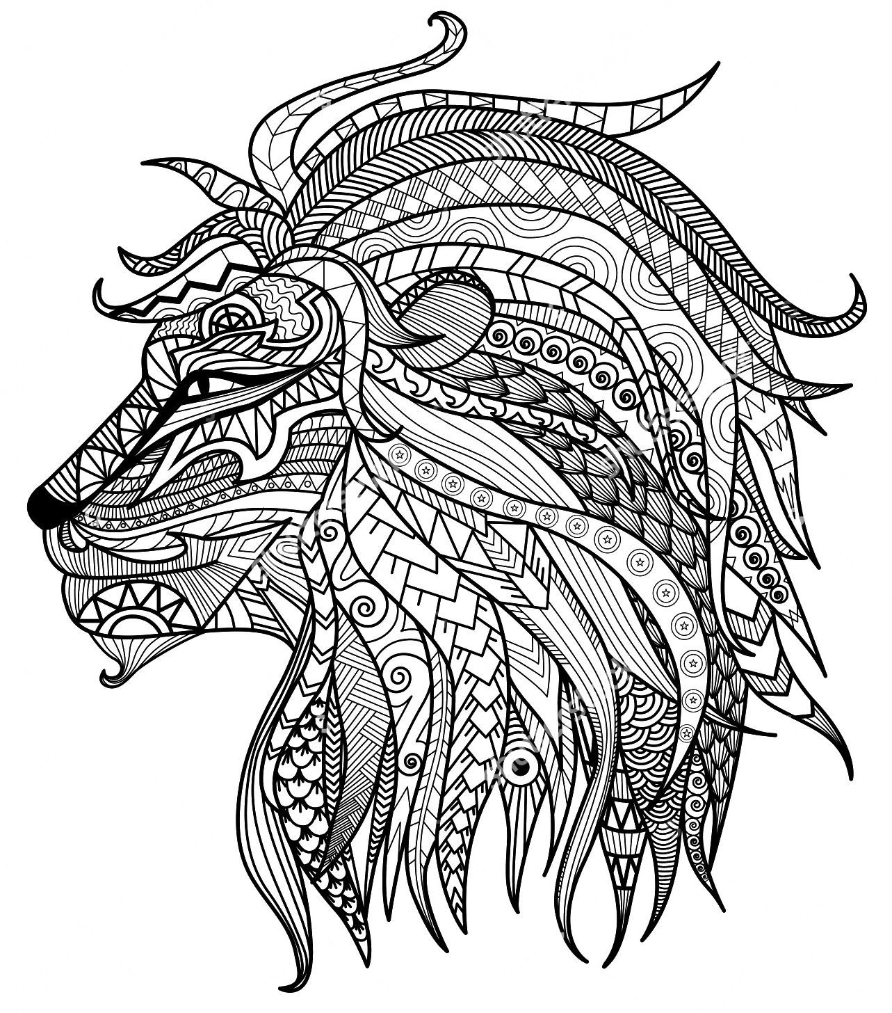 Adult Coloring Pages Lion Head Animal doodles, Animal