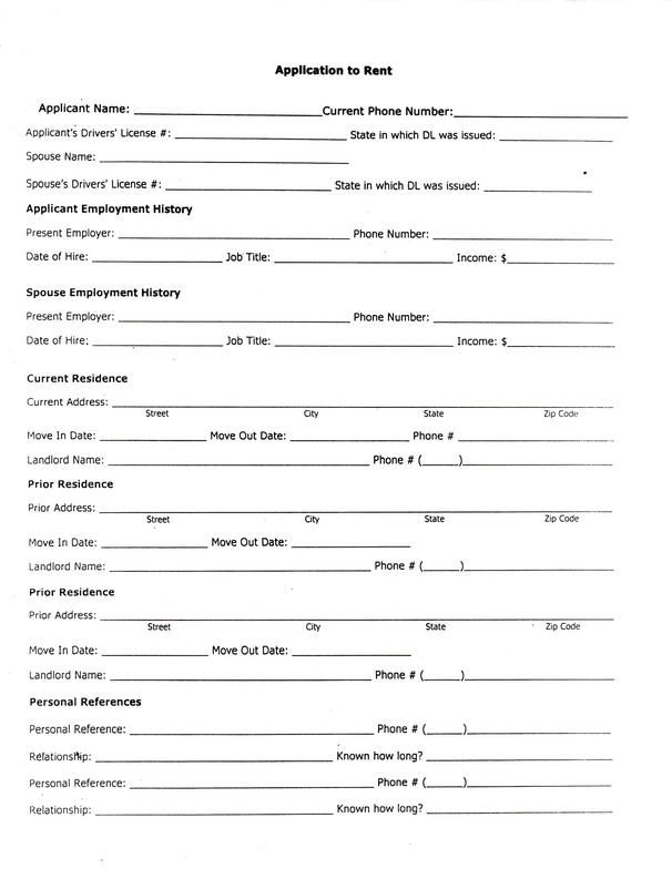 Printable Sample Rental Application Form Form Real Estate Forms - blank lease agreement example