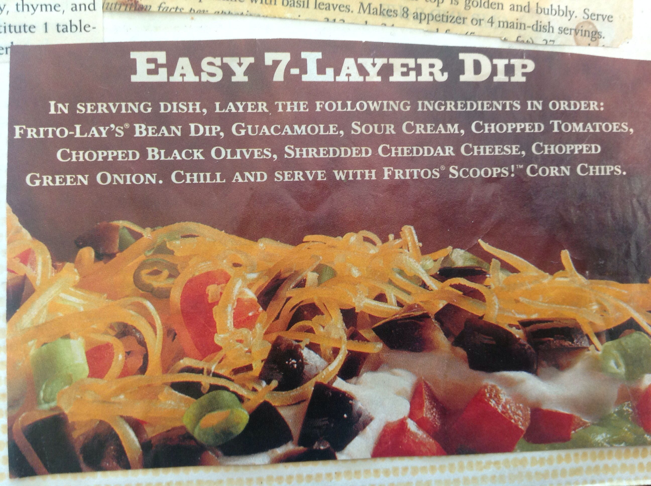 Frito Lays Easy 7 Layer Bean Dip I Add 1 2 Pkg Of Taco