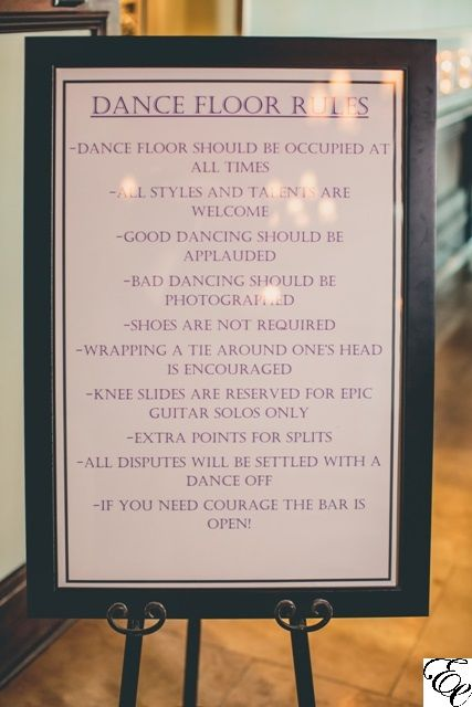 Dance Floor Rules Cute Sign For Wedding Reception Wedding Rules