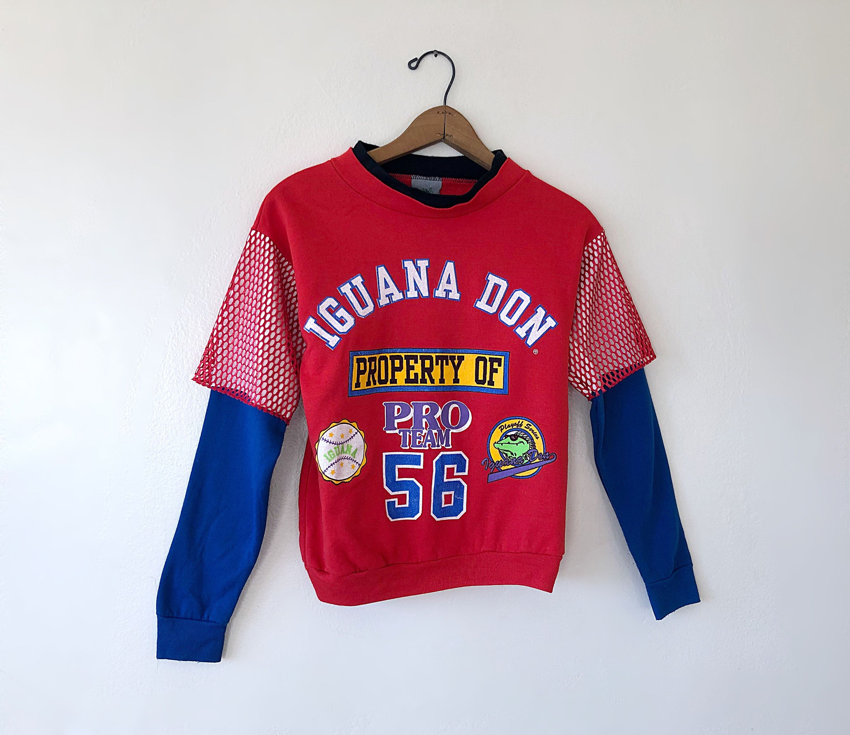 Kids Vintage 1992 Iguana Don Athletic Color Block Ultra Cool Etsy Mesh Sweatshirt Sweatshirts Blue Fashion
