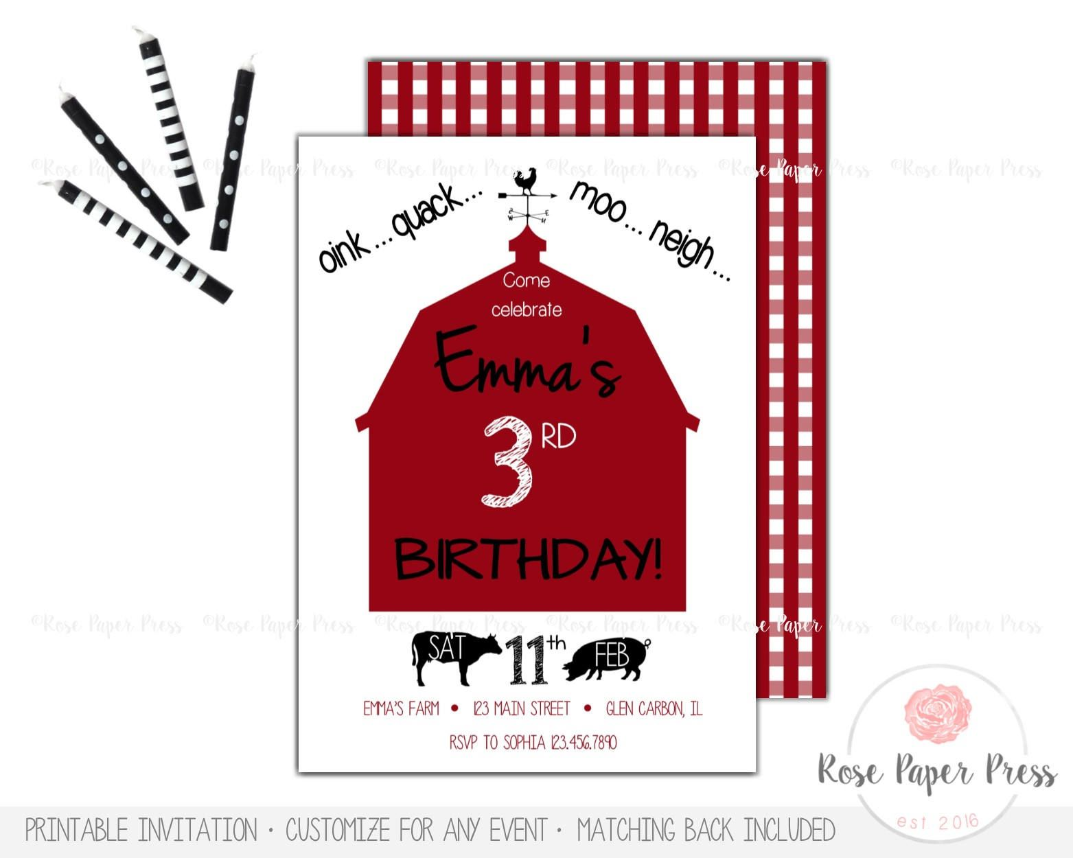 Farm Birthday Invitation, Modern Barnyard Birthday Party | Custom ...