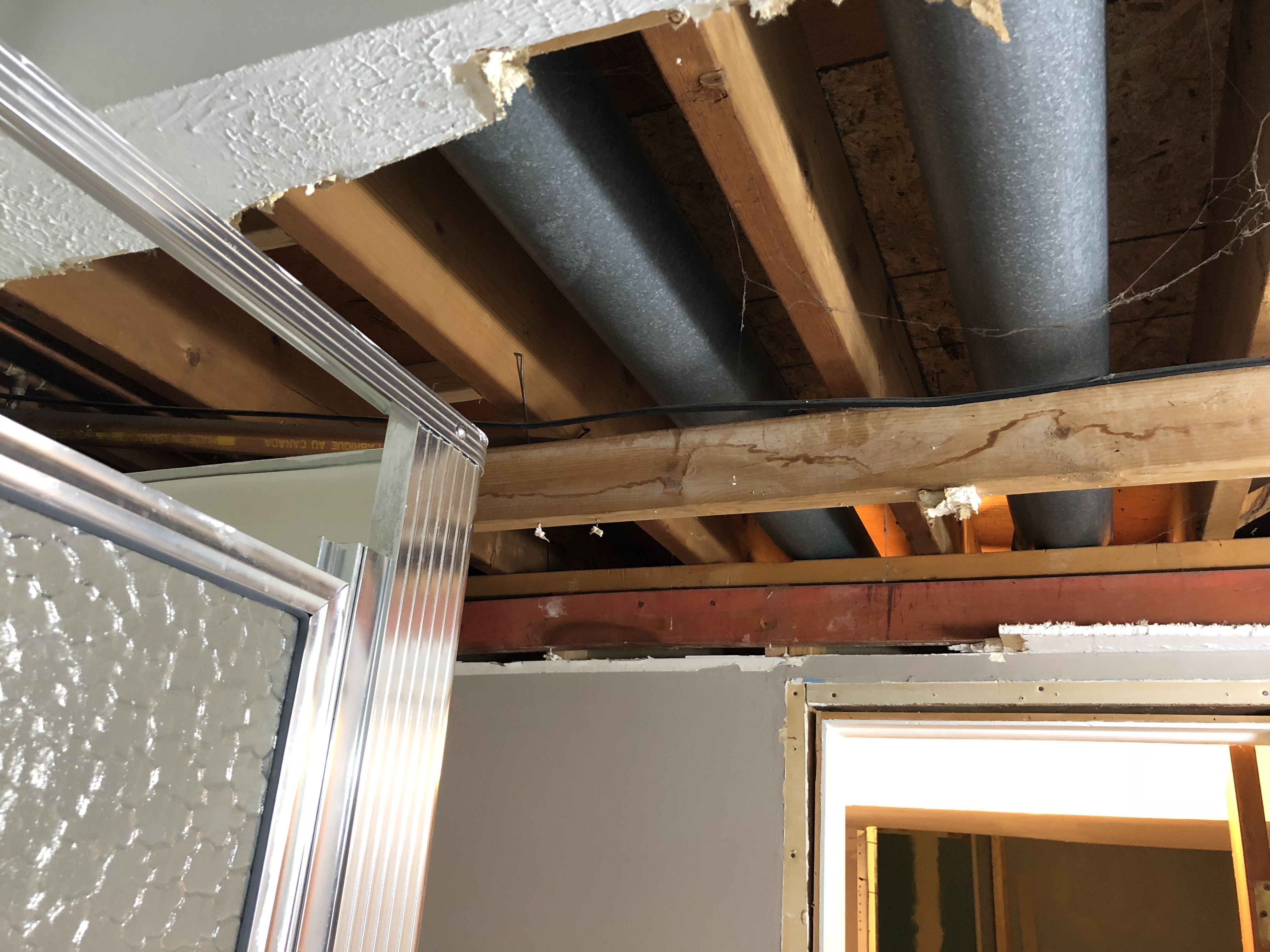 Basement Bathroom Ceiling We Had To Remove The Ceiling In Order To - How to fix bathroom ceiling